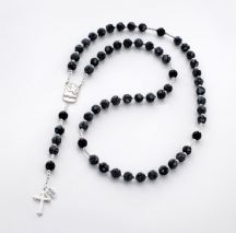 Personalised Rosary Obsidian & Onyx, Sterling Silver